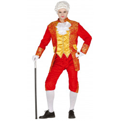 costume marquis rouge galons or