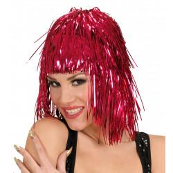 perruque disco lamé rouge