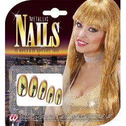 Ongles Or avec adhésives