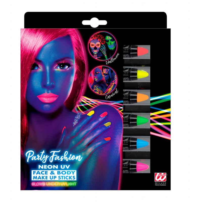 6 crayons Maquillage FLUO