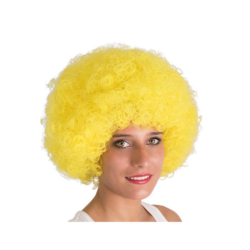 Perruque afro jaune