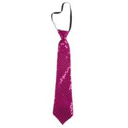 Cravate sequins rose
