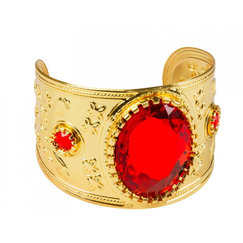 bracelet or avec pierres rouges