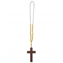 collier croix bois