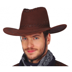 Chapeau cow boy marron luxe